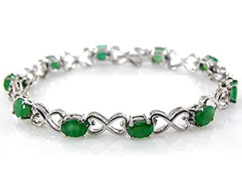 6.25ctw 100% Genuine Natural Emerald Oval & Solid .925 Sterling Silver Tennis Bracelet for Women and Girls