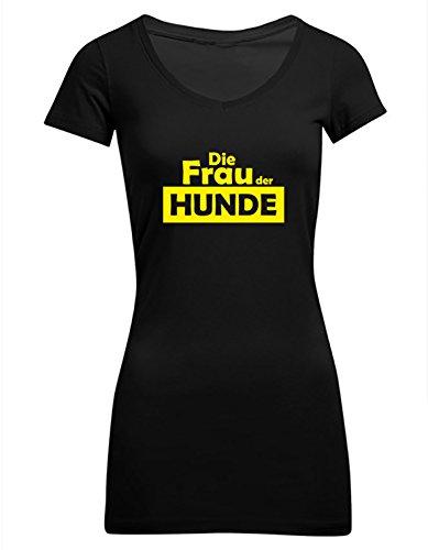Die Frau der Hunde - Hundetrainerin, Frauen T-Shirt Extra Lang, Größe L, schwarz (Große T-shirt Extra Hund)