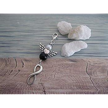 Handmade Schutzengel Anhänger/Charm Weiß/Schwarz mit Unendlichkeits Anhänger, Infinity