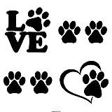 Adesivi tipo decalcomania in materiale vinilico colore: nero motivo: impronta di cane 4 pezzi di alta qualit/à