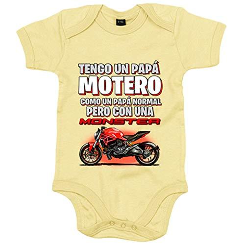 Body bebé tengo un papá motero Monster - Amarillo, 12-18 meses
