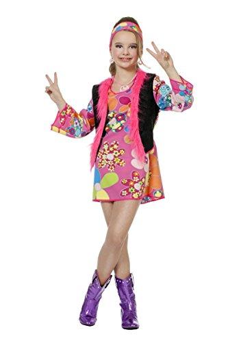 Wilbers 60er Jahre Kinder Kostüm Hippie Mädchen Karneval Fasching Gr.140 (Mädchen Für Hippie-kostüme)