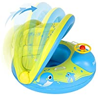 Peradix Baby Swimming Pool Float Boat Trainer Seat Inflatable Swim Rings with Repair Patch and Adjustable Sunshade Kids Inflatable Pool Toys for 6 to 36 Months (25Kg)
