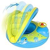 Peradix Piscina Salvagente per Bambini con Tettuccio Parasole Mutandina e Patch di Riparazione Baby Nuoto Anello Salvagente Regolabile Barca Gonfiabile Anello (Giallo)