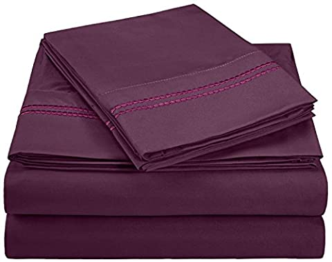 Superior 3000 Series Super Soft and Wrinkle Resistant Microfibre 4-Piece Bed Sheet Set with 2-Line Embroidery in Gift Box, Eastern King,