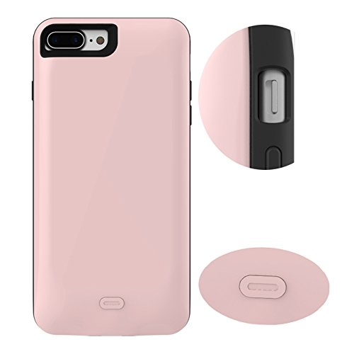 CaseforYou Batteriefach Hülle iPhone 7 Plus 7500mAh Taschen Schalen Akkus Rechargeable External Battery Backup Protective Case Power Bank Charger Cover Batteria Schützend Batterie-Schutz für iPhone 7  Rose Gold