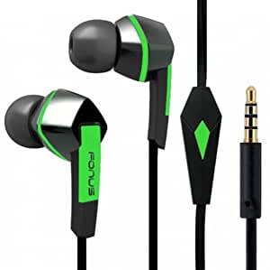 Premium Sound Earphones Hands-Free Tangle Free Flat Wired Green/Black Headset Dual Earbuds with Microphone for AT&T Samsung Galaxy Express, AT&T Samsung Galaxy Mega 2, AT&T Samsung Galaxy Mega SGH-I527, AT&T Samsung GALAXY Note, AT&T Samsung GALAXY Note 2 SGH-I317