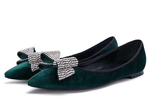 Nude Bow Chaussures Classique Femmes Talon Plat Pointu Suede En Cuir Femme Automne Seule Chaussures En Cuir Sneakers Chaussures De Sécurité Vert