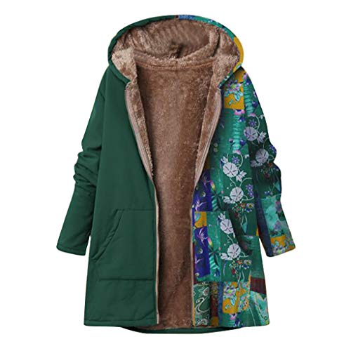 Damen Vintage Coat Jacket ethnischen Boho Blumendruck warm gepolsterte Kapuzen Taschen lose übergroße Oberbekleidung(5XL,Grün-2)