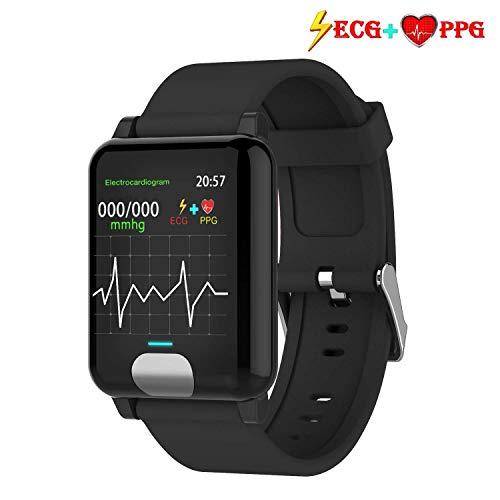 armo Fitness Armband ECG+PPG mit Pulsmesser Wasserdicht IP67 Fitness Tracker Aktivitätstracker Pulsuhren Smartwatch (Schwarz)