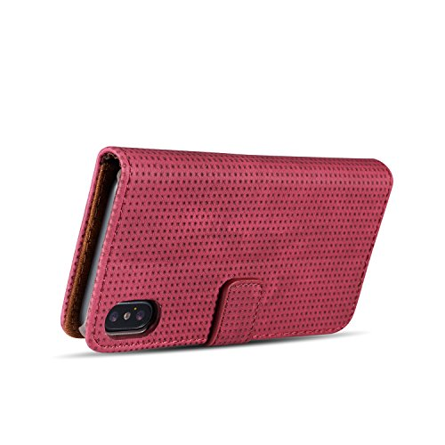 Breathing Cool Air-Mesh Pattern Retro PU Leder Holster Case Cover mit Card Slots und Kickstand für iPhone X ( Color : Blue ) Red