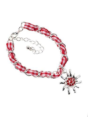 Trachtenarmband Edelweiss Gliederkette Klassik - elegante und traditionelle Gliederkette / Armband für Dirndl und Lederhose (rot/weiss)