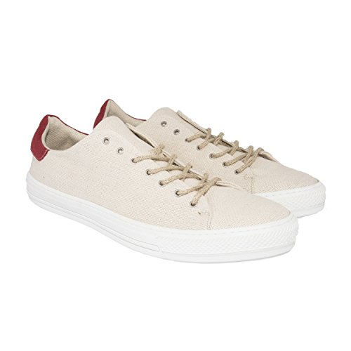 VaVe Chaussures Basses Baskets Sneaker Vegan Bio en Chanvre 100% avec Semelle en Fibre de Maïs et Œillets sans Nickel Natural / Red