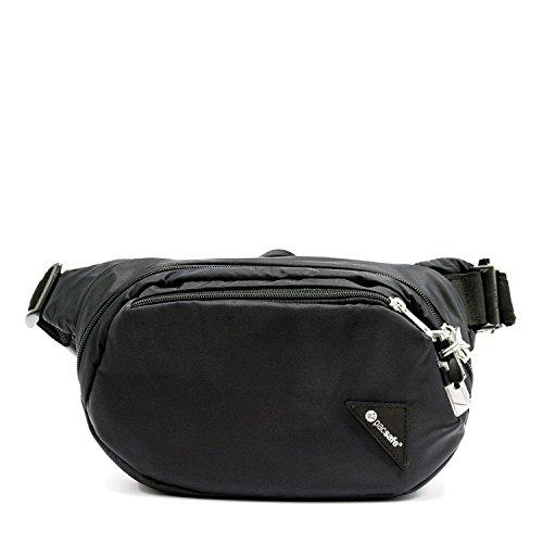 Pacsafe Vibe 100 - Anti-Diebstahl Hüfttasche, Diebstahlschutz Hipbag, Gürteltasche Tasche, Schwarz/Black - Passport Travel Tote