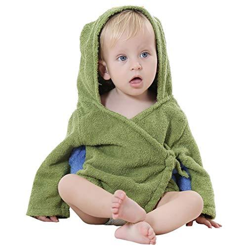 Pingrog Dearmy 0 3 Jahre Baby Kinder Niedlich Karikatur Bad Stilvolle Unikat Mit Kapuze Bademantel Handtuch Nachtwäsche 3D Tier Weich Baumwolle Säugling Junge Mädchen Mit Kapuze Pyjama (Olivgrün)