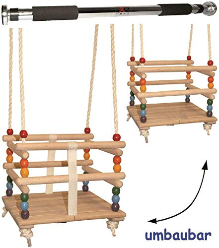 FidgetGear 2 tlg. Set Babyschaukel/Kinderschaukel - mit abnehmbaren Gurt + Türreck - le Namenswunsch One
