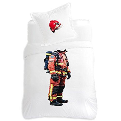 Van Der Haegen & Neckebroeck 5514020KF0PBI Parure de lit pompier Billy - Housse de couette 140x200 cm + taie 65x65 cm