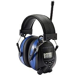 Protear Casque de protection auditive anti-bruit avec Bluetooth et radio AM/FM - Cache-oreilles de sécurité avec affichage digital, pour la tonte, certifié NRR 25dB