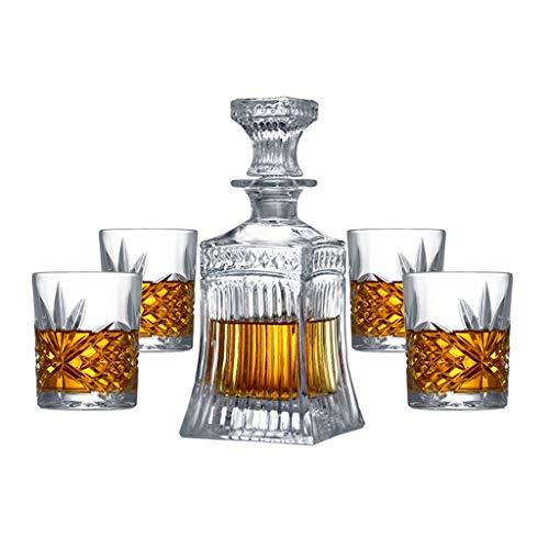 LSRRYD 5er Set WeinDekantierer Belüfter Whiskey Dekanter Decanters,mit Luftdichtem Verschluss,Design Karaffe Aus Glas,Hergestellt In Handarbeit,Vintage Design (Farbe : B)