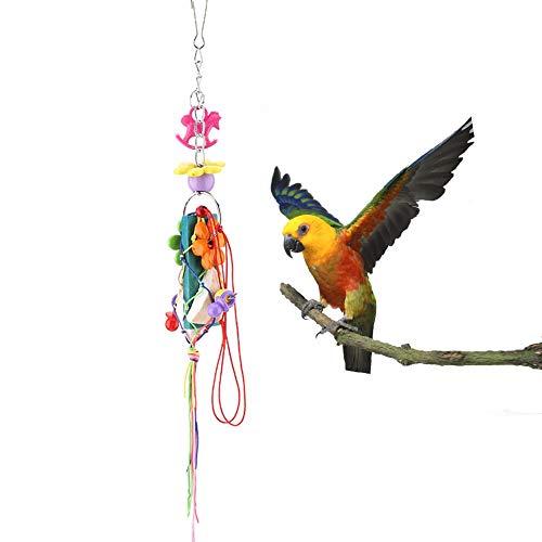 Pssopp Juguete para Masticar pájaros, Bloques de Madera de Colores, Bolas Tejidas, Juguetes para periquitos, Loros, Loros africanos Grises, ninfas, mordedor, Nido, Jaula