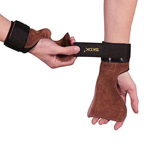Wdj Gewichtheben Rindsleder Handschuhe Full Palm Schutz & Extra Grip, Rutschfest Fitness Handschuhe ideal für Klimmzug, Langhantel, Cross-Training, Verschleißfest Armschienen Hartes Griffband