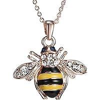 Senfai, collana placcata in oro rosa 18 carati, con ciondolo a forma di ape - Rosa Bumble Bee
