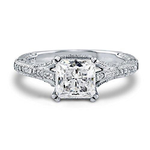 /Verlobungsring mit 1,65ct Moissanit-Diamant mit Prinzess-Schliff, 14kt Weißgold, Größen 49mm, 50mm, 52mm, 53mm, 54mm, 55mm, 56mm,58mm, 59mm, 60mm, 61mm ()