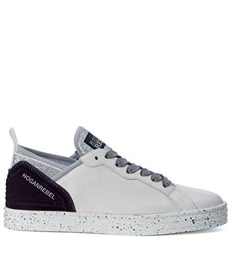 Basket Hogan Rebel R141 en peau blanche et noire avec strass Blanc