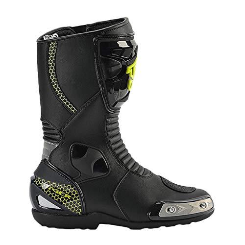 PANDAOX Stivali da Moto da Uomo Stivaletti in Pelle corazzata Touring Track Corse da Corsa Protezioni Lunghe alla Caviglia Scarpe da Stivale da Crociera Stivali da Enduro Fuoristrada,Black-45(10)