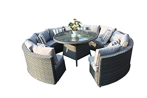 yakoe 50144 monaco 10 seater round rattan outdoor patio garden furniture dining table sofa set. Black Bedroom Furniture Sets. Home Design Ideas