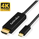 "USB-C To HDMI Cable, Amiroko USB 3.1 Type C (Thunderbolt 3 Compatible) To HDMI 4K Cable Adapter For Macbook Pro 2016, Macbook 12"", Samsung Galaxy S8/S8+ Etc To HDTV, Monitor, Projector (6FT)"