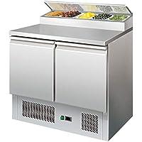 Ensaladera de acero inoxidable con accesorio de refrigeración, 254 litros, nevera para pizza o pizza (900 x 700 x 945 mm)
