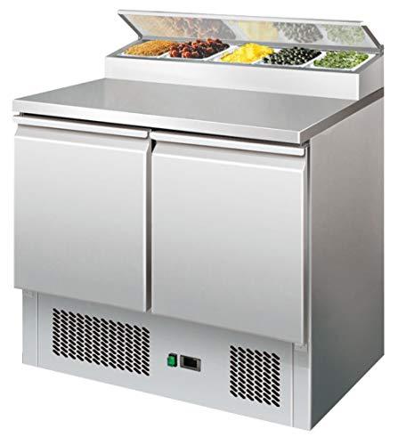 Edelstahl Saladette mit Kühlaufsatz 254 Liter Kühltisch Pizzakühltisch Pizzatisch Kühltisch Kühltheke Arbeitstisch 900x700x945 mm
