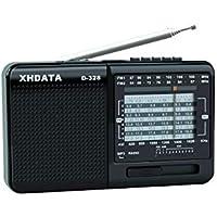 XHDATA D-328 Radio Portátil Soporte de Reproductor de MP3 Tarjeta TF FM Am SW Radio de Banda Completa (Negro)