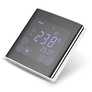 FLOUREON Heating Thermostat LCD Touchscreen 5+2/6+1/7 Daily Weekly Programmable Central Thermostats Underfloor Thermostats and Temperature Controller (Black)