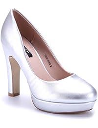 Suchergebnis auf Amazon.de für  pumps blockabsatz silber - Schuhe ... 19a9ae97ab