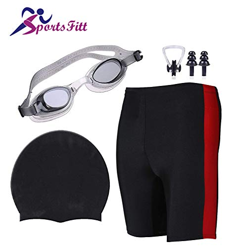 SportsFitt Swimming Combo Kit Regular Fit (28in to 34in) Swimming Short, Goggles, Silicone Cap, 2Pc Ear Plugs, 1 Pc Nose Clip, Swimming Suit (Black)
