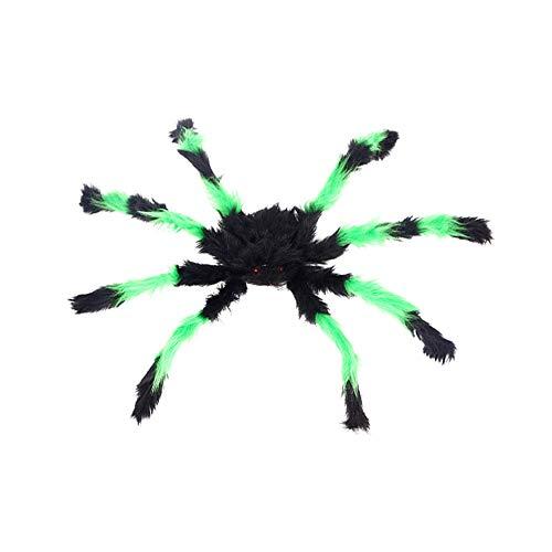 Fliyeong Große Spinne Plüschtier realistische gefälschte haarige Spinne Spielzeug Halloween-Dekor Streich Witze Spielzeug 1 Stück schwarz und grün (Halloween-dekor Spinnen)