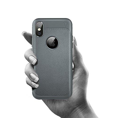 iPhone X Handycover, MOONMINI Ultra Dünn Soft TPU Silicone Stoßfest Slim Fit Handy Tasche Case Anti-Kratzer Schutzschale Anti-Drop Full Body Schutzhülle für iPhone X Dunkelblau Grau