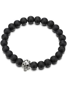 Gotisch Herren Damen 10MM Matt Schwarz Onyx Perlen Armband Bettelarmband mit Schädel Charme, Dehnbare