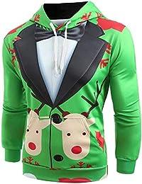 JiaMeng Sudadera con Capucha de Manga Larga con Capucha y Estampado de patrón de Traje de Navidad Sudadera Pullover de Solapa Cardigan