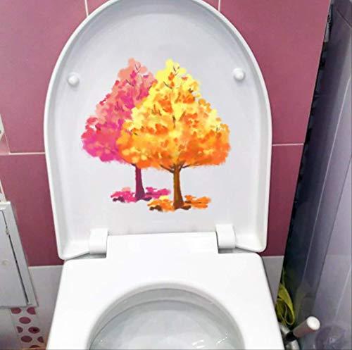 Toilettensitz Aufkleber 21,9 * 22,6 Cm Aquarell Ahorn Cartoon Kinderzimmer Wand Dekor Aufkleber Badezimmer -