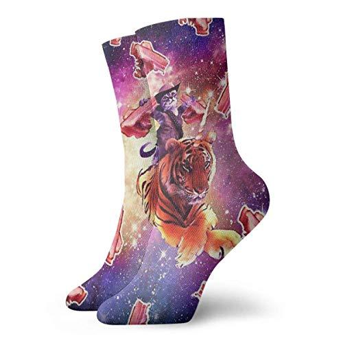 Preisvergleich Produktbild Kotdeqay Novelty Funny Crazy Crew Sock Cute Cat Ride Tiger with Bason in Galaxy Printed Sport Athletic Socks 30cm Long Personalized Gift Socks