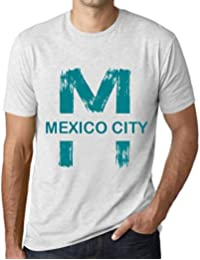Hombre Camiseta Vintage T-Shirt Gráfico Letter M Countries and Cities Mexico  City Blanco Moteado 7f30287714bfc