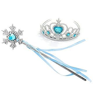 Kuzhi Frozen Elsa Crown Tiara and Wand Set - Silver Heart Jewel (Blue,Snowflake Wand)