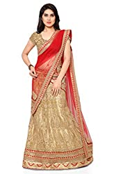 NAAIDAAKHO BEIGE AND RED COLOR LEHENGA CHOLI