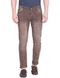 Flying Port Men's Brown Slim Fit Stretchable Jeans