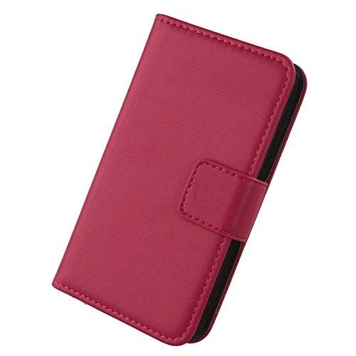 Gukas Design Echt Leder Tasche Für Jiayu F1 Hülle Handy Flip Brieftasche mit Kartenfächer Schutz Protektiv Genuine Premium Case Cover Etui Skin Shell (Rosa)