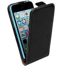 iphone 5c Teléfono móvil Funda, SOUNDMAE De cuero genuino De arriba a abajo Flip Style Leather Case Cover - El negro