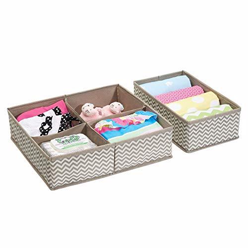 Mdesign organizer cassetti baby e neonato – ideale divisorio cassetto per la cameretta e gli armadi dei bambini – set da 2 scatole portaoggetti con 5 scomparti – materiale traspirante